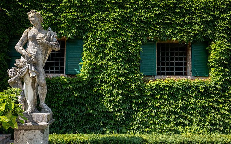 Parco di Villa Malaspina. Particolare con statua e facciata depandance scenograficamente ricoperta di edera.